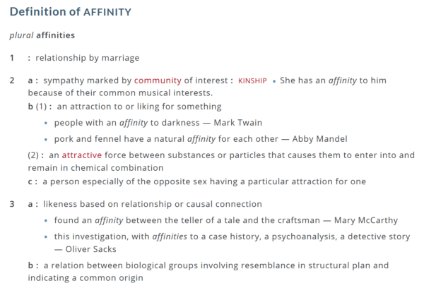 This is the definition of affinity